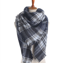 Z1578 Women Men Unisex Fashion Imitation Cashmere Cape Plaid Blanket Tartan Scarf Autumn Winter Fall Scarves