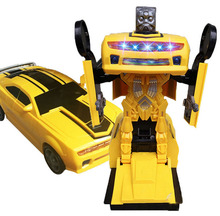 Electronic Deformation Music Car Toys Cool Light Transformer Robot for Kids Children Flashing Gift