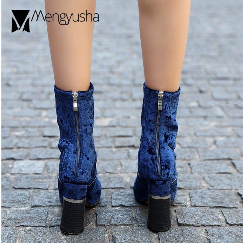 Qualité Hiver Bout De Luxe Feminina Talons Pointu Marque Chaussures Bottes Rond Kendall Femmes Bleu Bota Haute Troupeau Velours Courtes Chelsea jR35AL4