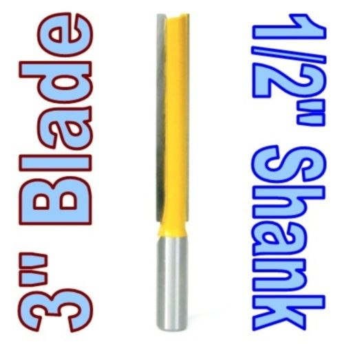 1 pc 1/2 Shank Extra long 3 Blade 1/2 Cutting Dia. Straight Router Bit Woodworking cutter Tenon Cutter for Woodworking high grade carbide alloy 1 2 shank 2 1 4 dia bottom cleaning router bit woodworking milling cutter for mdf wood 55mm mayitr