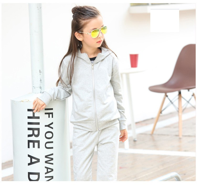 2016 character tracksuits childrens clothing for girls kids hooded hoodies coats pants girl clothes suits gray pink sports sets  5 6 7 8 9 10 11 12 13 14 15 16 years old little big teenage girls clothing set (2)