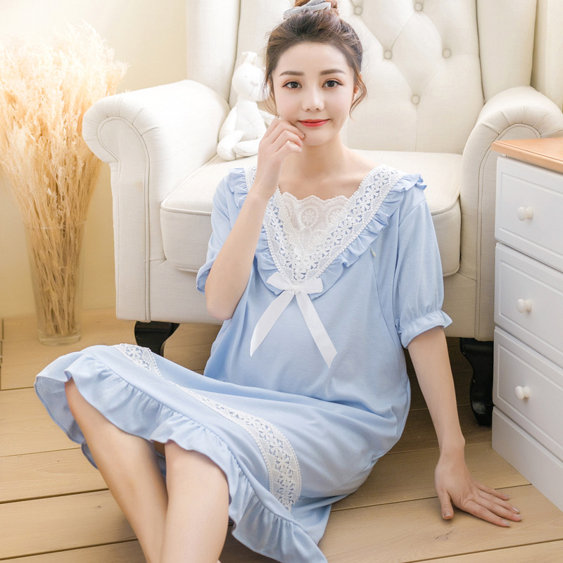 Casual nursing nightgown cotton maternity breastfeeding pajamas nightwear lace bow tie blue pink nightdress pregnant sleepwear