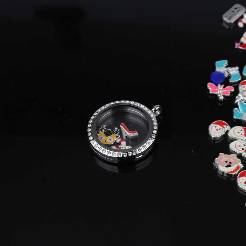 100pcs/lot 10pcs/bag Mix deisgn Assorted Christmas Locket Charms for Living Memory Glass Locket Accessories DIY Floating Charm
