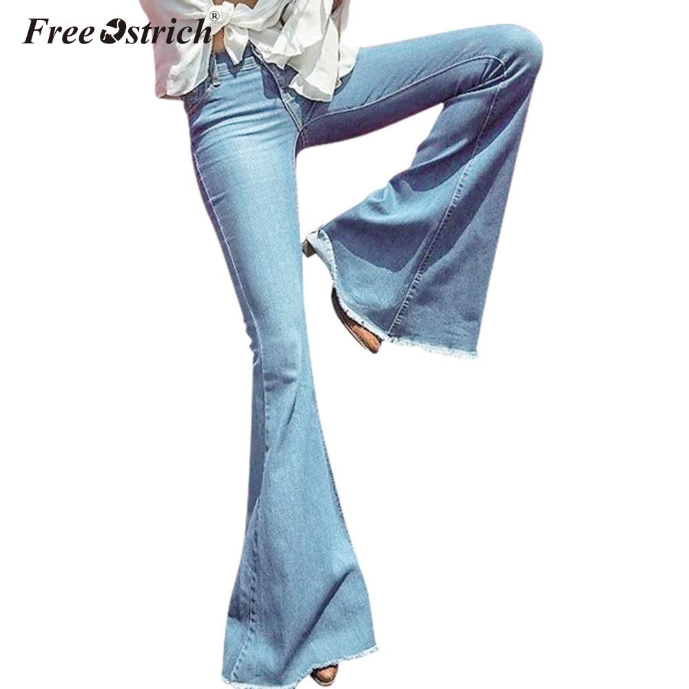 Free Ostrich   Jeans   Woman Plus Size Solid Flare Women Denim Pants Trousse De Toilette Femme Pantalones-Mujer-Cintura-Alta N30
