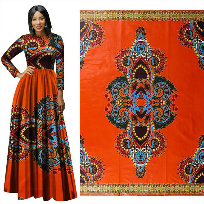 Me-dusa 2019 new orange folk-custom African Print Wax Fabric 100% cotton Hollandais Wax Dress Suit cloth 6yards/pcs High quility(China)