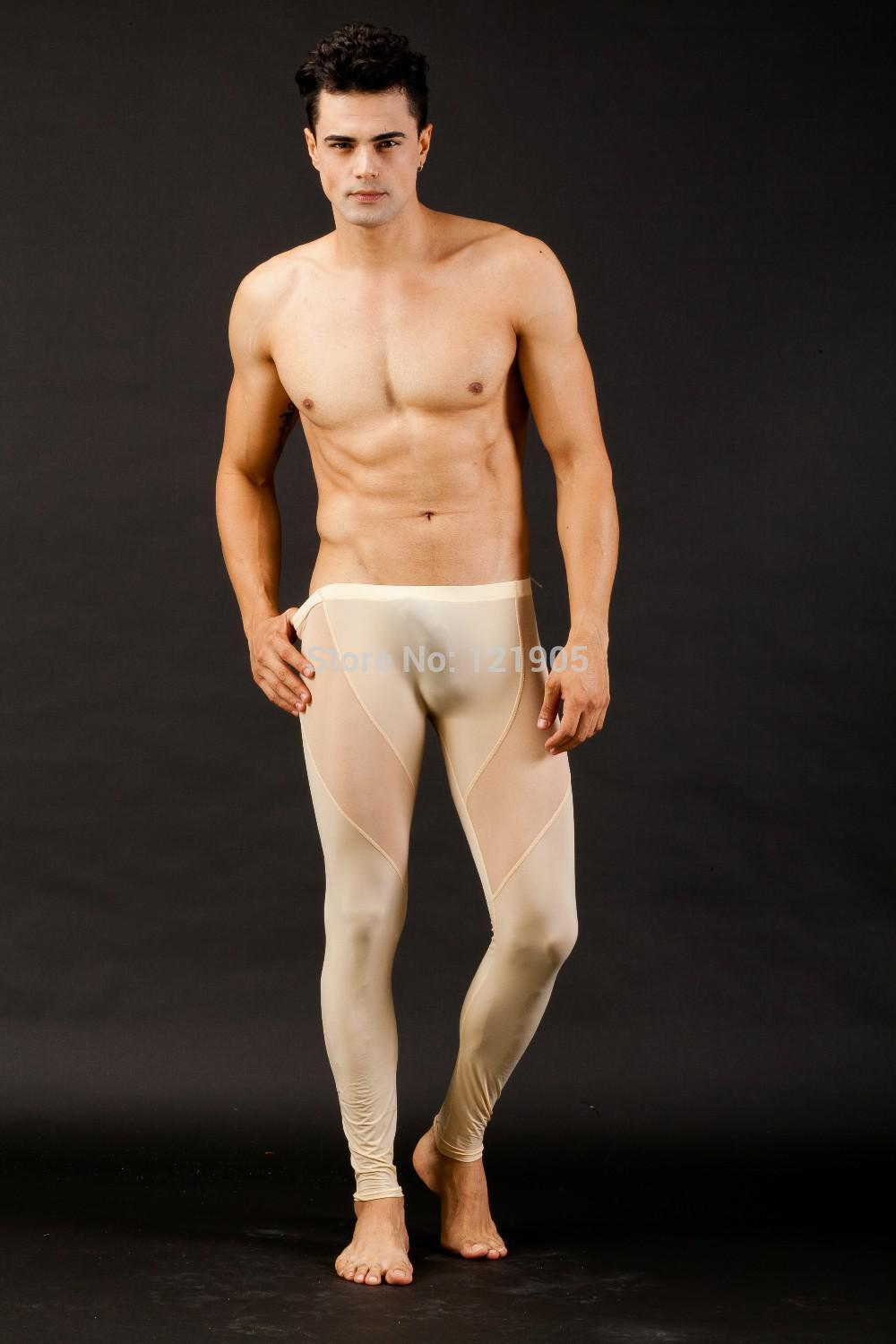 f222e8926c66e9 Free shipping New Sexy Men Ice Silk Nylon Trousers Thermal Underwear Slim  Tight Transparent Gauze Pants Long Johns 5 colors-in Long Johns from  Underwear ...
