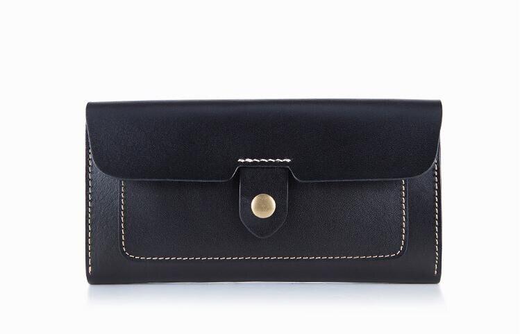 牛革女性固体ファッションロング財布手作りハスプ財布  グループ上の スーツケース & バッグ からの 財布 の中 1