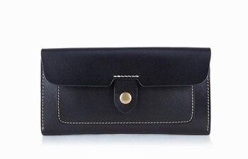 Bò da phụ nữ rắn thời trang dài purse handmade then cửa ví