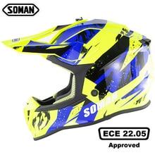 купить SOMAN Motorcycle Helmet Mens Off-road Full Face Helmet Motocross Adventure Downhill DH Racing Casco Moto Helmet ECE Approved дешево