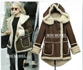 Hoodies de pele forro de lã de carneiro das mulheres da pele do falso inverno quente longo casaco casaco de algodão parkas térmicas frete grátis