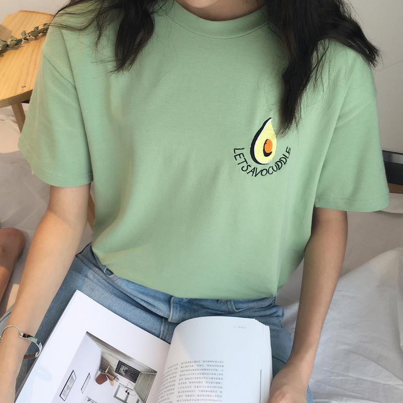 Embroidery avocado t shirt female funny fruit short sleeve for Cute japanese t shirts