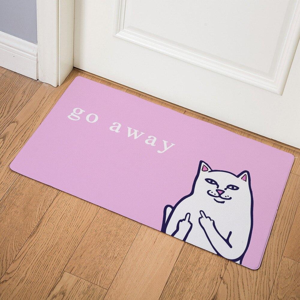 Image 4 - Cartoon Animal Cat Go Away Printing Doormat Home Decoration Non slip Floor Mat Cat Door Mat  Tapis de bain felpudo PU-in Mat from Home & Garden