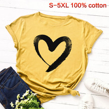Oversized 5XL Cotton T shirt Women Fashion Summer Round Neck Short Sleeve Lover Hearted T-shirt Harajuku Couple Tops WDC2488(China)