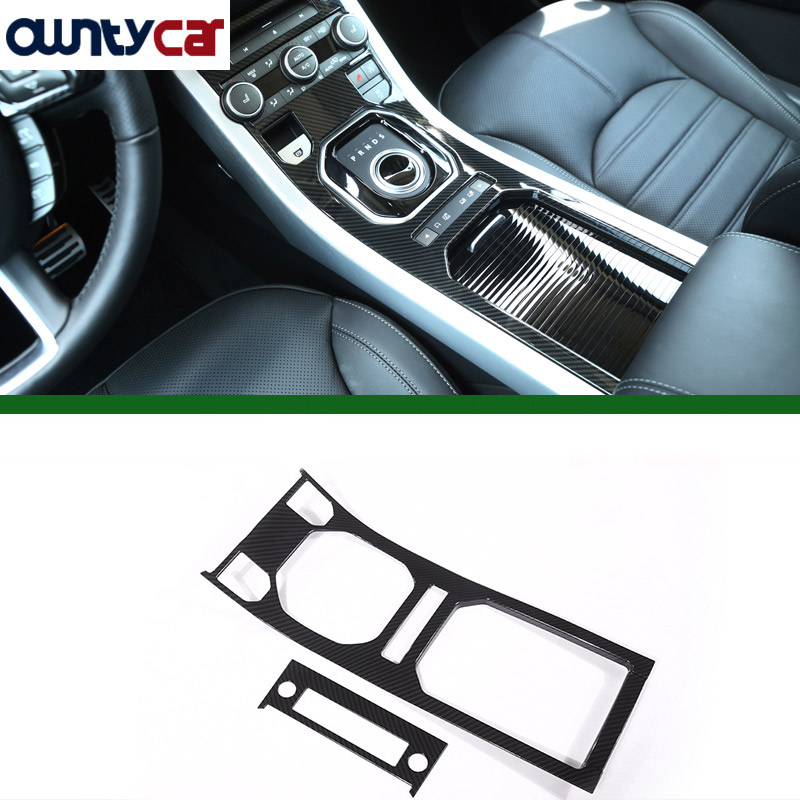Carbon Fiber Style ABS Plastic For Land Rover Range Rover Evoque 12-17 Center Console Gear Panel Decorative Cover Trim Newest 4pcs abs interior door cover trim for land rover range rover evoque 2011 2016