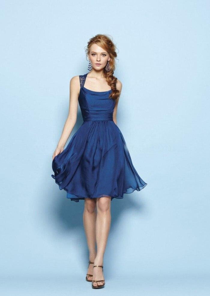Populaire Robes sans manches en mousseline de soie bleu robe de soirée  CX56