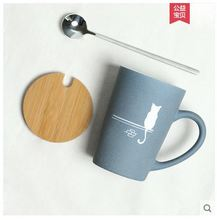 Cat mug cup cute kitten porcelain coffee brief minimalism design