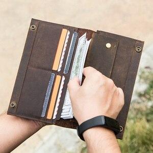 Image 5 - İletİşİm çılgın at hakiki deri erkek uzun cüzdan için cep telefonu vintage çile debriyaj cüzdan erkek kart sahipleri ince çanta