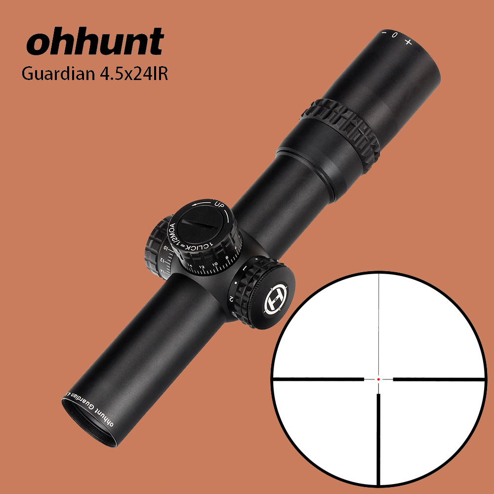 где купить ohhunt 4.5X24IR Compact Hunting Riflescope 1/2 Half Mil Dot Optical Sights Glass Reticle with Turrets Reset Tactical Rifle Scope дешево