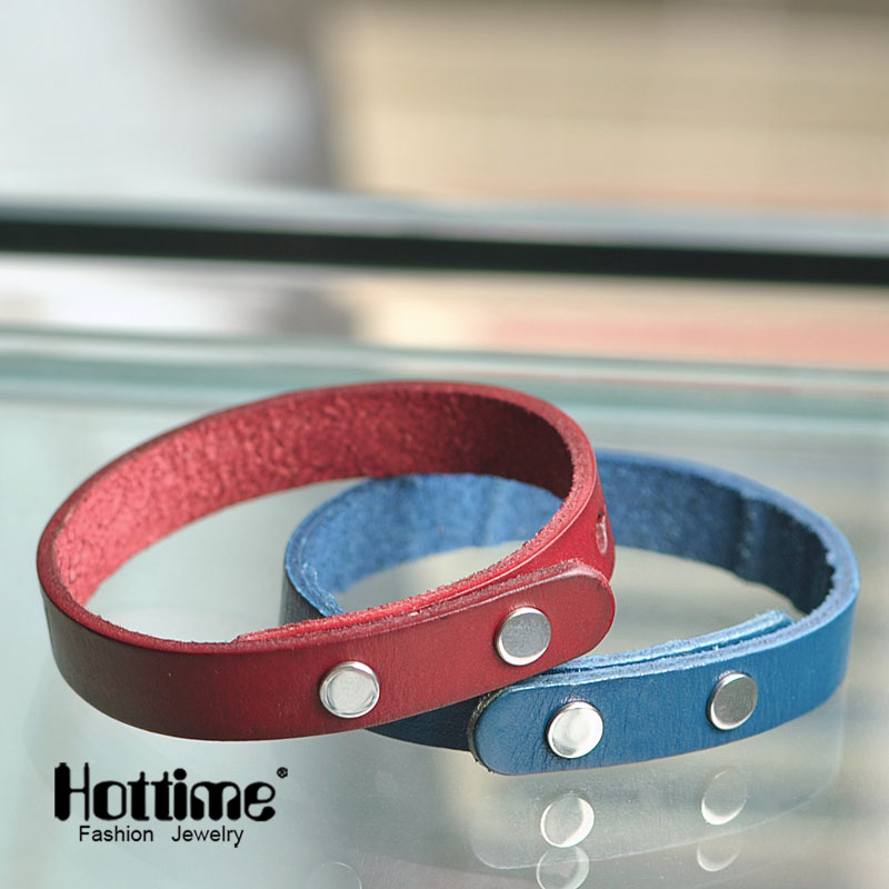 Hottime New Fashion Stainless Steel Adjustable Leather Bracelet Punk Jewelry Cuff Women/Men`s Britain Style Casual Jewelry PG027 punk style multilayered cuff bracelet for women