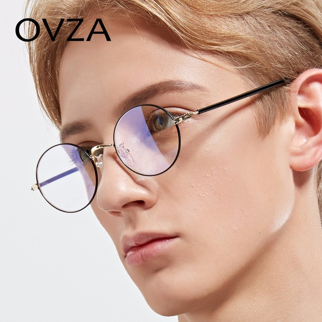 56a69a15b47 OVZA Oval Retro Eyeglasses Frames Women Fashion Metal Optical Frame Men  Classic Reading Glasses Small Ultra-light S2001