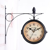 Antique Style Station Wall Hanging Clock Metal Frame + Glass Clock Vintage Decorative Double Sided Metal Wall Clock