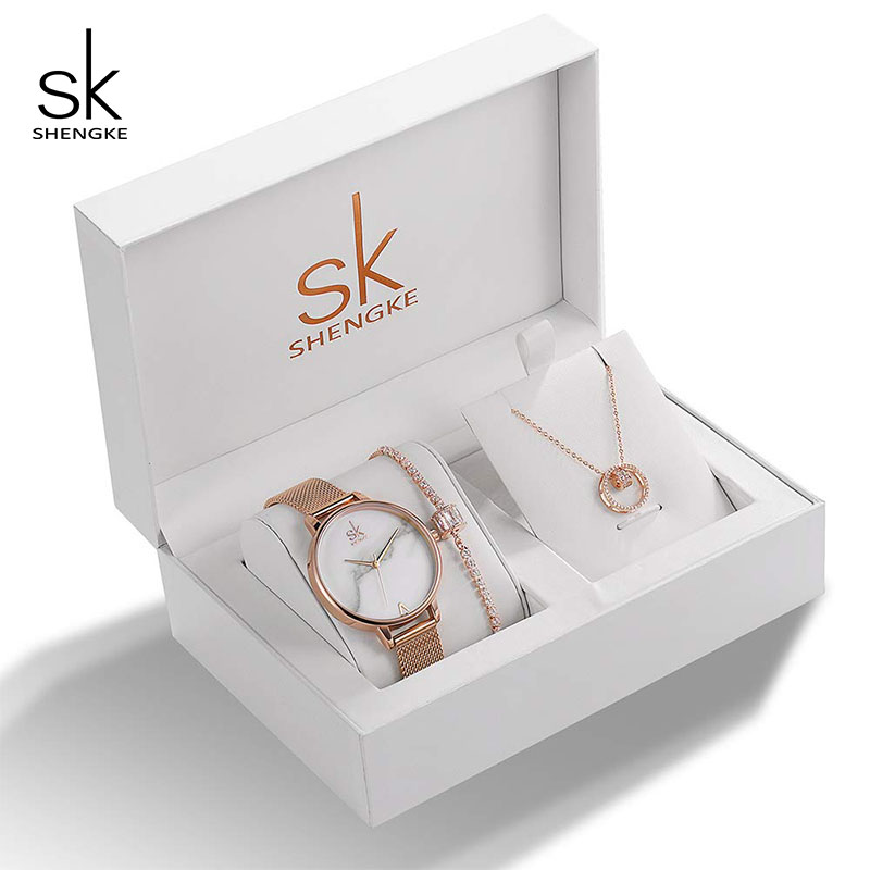 Image 2 - Shengke Brand Creative Women Watch Crystal Design Bracelet Necklace Set Female Jewelry Fashion Luxury WristWatch Gift For Women-in Women's Watches from Watches