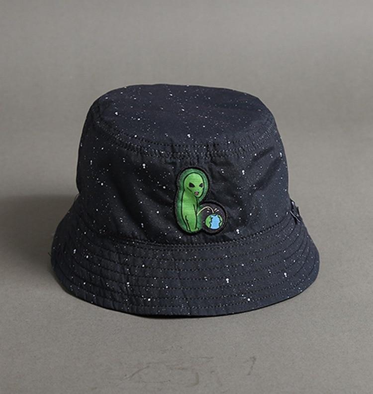Summer Women Hats Spoof Alien Cartoon Embroidery Fisherman Hat Double-sided Wearing A Star Basin Cap Visor Men Bucket Sun Hats