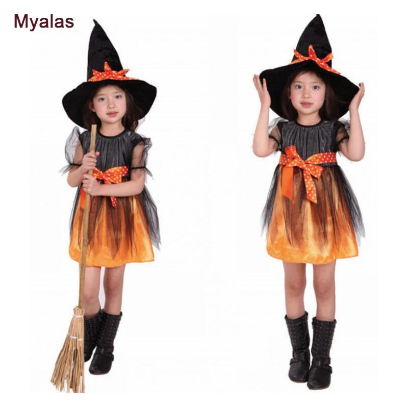 Little Girl Witch Dress Princess Party Dresses Baby Kids Children Clothing Carnival Halloween Cosplay Costume Princess Dress