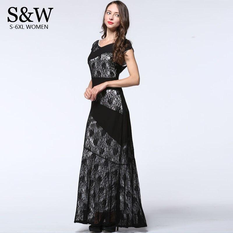 6XL 7XL Plus Size Women Elegant Formal Party Dress Summer 2016 Sleeveless Long Black Lace Dress Patchwork Maxi Dresses