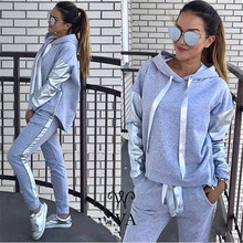 2018 Women Suits Winter Hoodies And Full Pant Two Piece Tracksuits Autumn Patchwork Sweatshirts and Set