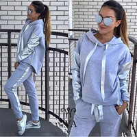 2018 Women Suits Winter Hoodies And Full Pant Two Piece Women Tracksuits Autumn Patchwork Sweatshirts Pant and Women Set