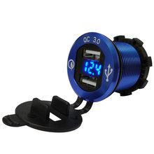 Universal 12V-24V Quick Charge QC 3.0 with LED Voltmeter Dual USB Charger Socket Outlet Power Adapter for Car Boat Motorcycles(China)