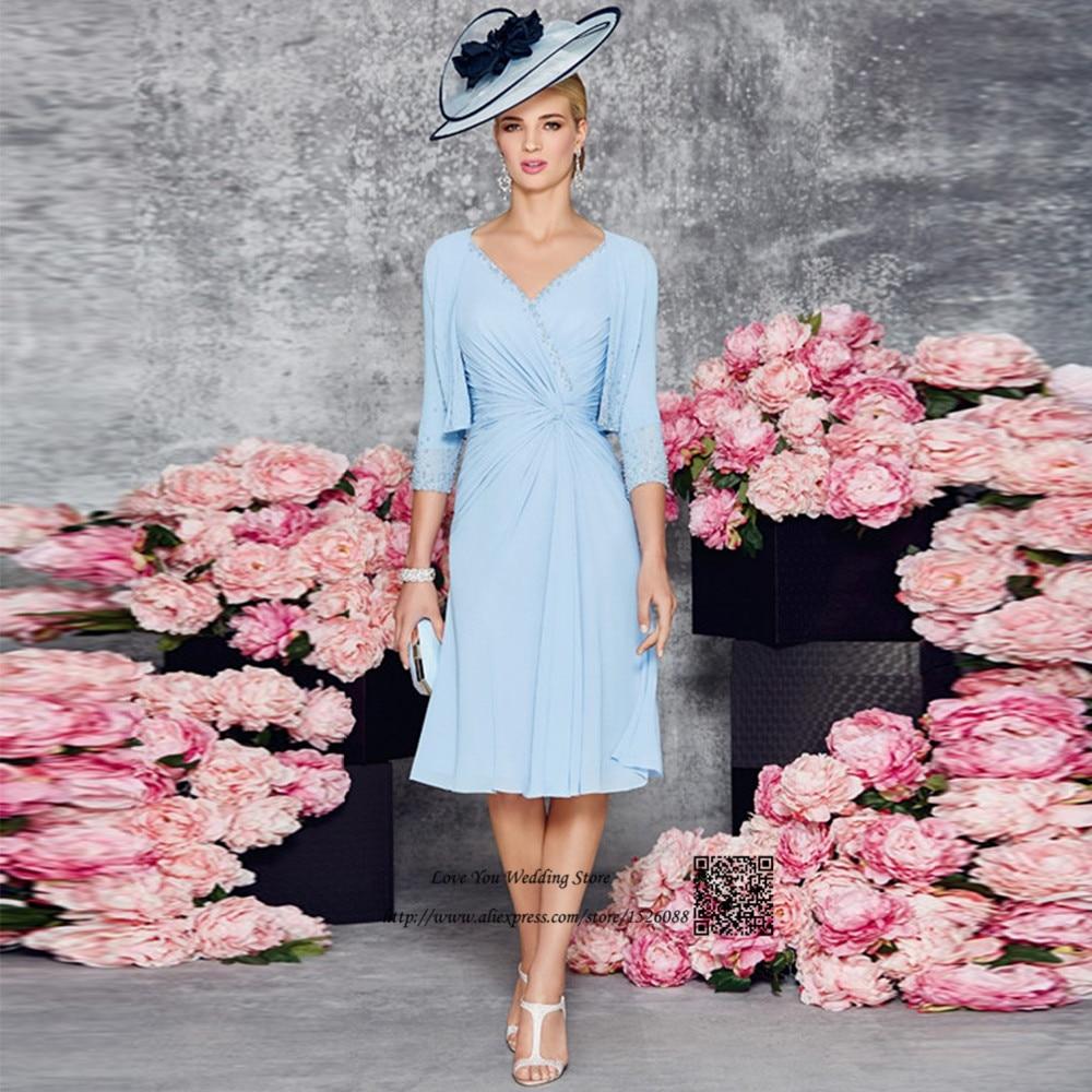 Elegante Blaue Chiffon Hosen Anzug Hochzeit Mutter der Braut Kleider ...