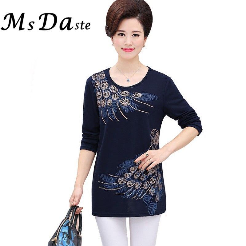 03122385c08143 Plus Size Tee Shirts Vrouwen 4XXXXL ~ XL Femme Tunieken t-shirts Tops  Bloemen Borduren Blusa Vintage Katoen Casual T-shirts blauw Rood