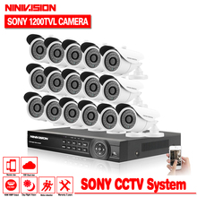 HD CCTV security system 16 channel 1080P AHD DVR kit 16*1200TVL Sony CCD Outdoor White video surveillance security camera system