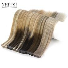 """Neitsi 10 шт. Remy лента для наращивания человеческих волос, двойной нарисованный клей, прямые волосы, Уток 1"""" 20"""" 2"""", много цветов"""