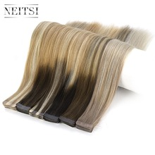 Neitsi 10PCS Remy Tape In Human Hair Extensions Double Drawn Adhesive Straight Skin Weft 16 20 24 Multi Colors
