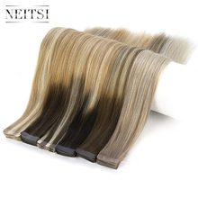 "Neitsi 10PCS Remy Tape In Human Hair Extensions Double Drawn Lijm Steil Haar Huid Inslag 16 ""20"" 24 ""Multi Kleuren(China)"