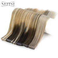 Neitsi 10PCS Remy Tape In Human Hair Extensions Double Drawn Adhesive Straight Hair Skin Weft 16 20 24 Multi Colors