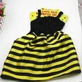 Bonito tarja preta amarelo bee dress traje conjunto roupas cabeça asa crianças encenar desempenho fontes do partido do dia das bruxas