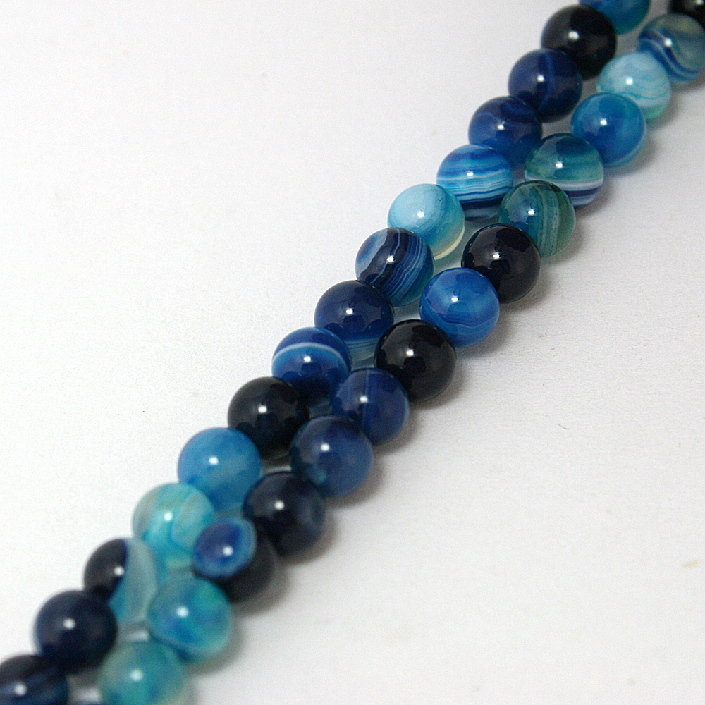 "10 Mm Naturel à Rayures Bleu Turquoise Gemstone Round Loose Bead 15/"" AAA"