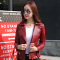 2016 Korean new leather female short coat jacket Women Slim motorcycle clothing