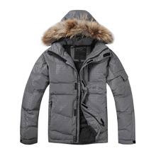 2019 High Quality Men Down Jacket Winter Coats 80% White Duck Real Raccoon Fur Warm Free Shipping