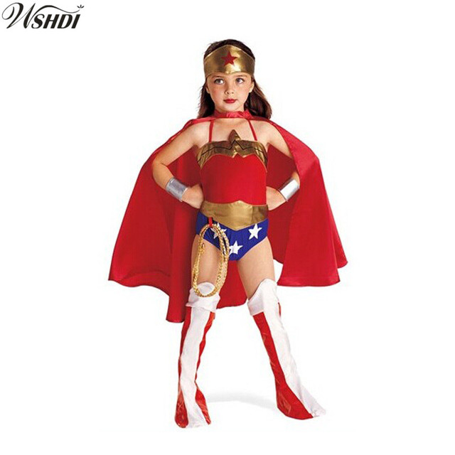 59d533bfa 2018 Children's Wonder Woman Costume Girl Cosplay Clothing Red Halloween Costume  Kids Superhero 6PC Clothes S-XL