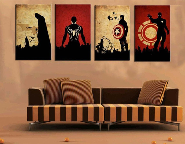 Nice 4 Panel Marvel Comics Heroes Pictures Hand Painted Oil Painting Wall Art  Home Decor Acrylic Paintings
