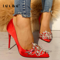 LALA IKAI High Heels Pearls Beaded Satin Shoes Women Pumps Pointed Toe Flock Wedding Shoes Flower Red Party Pumps 014C0669 4