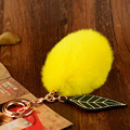 Luxury 4*7cm Rabbit Fur Pompom Keychain Keyring Shape Yellow Lemon Bag Charm Fluffy Pendant Key chains Key holder For Women Gif