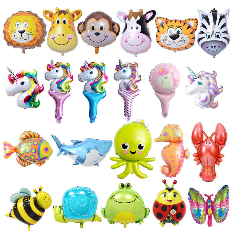 6pcs Mini Animal Foil Balloons Birthday Party Decorations Kids Ocean Fish Balls Inflatable Toys Baby Shower Animal Party balls