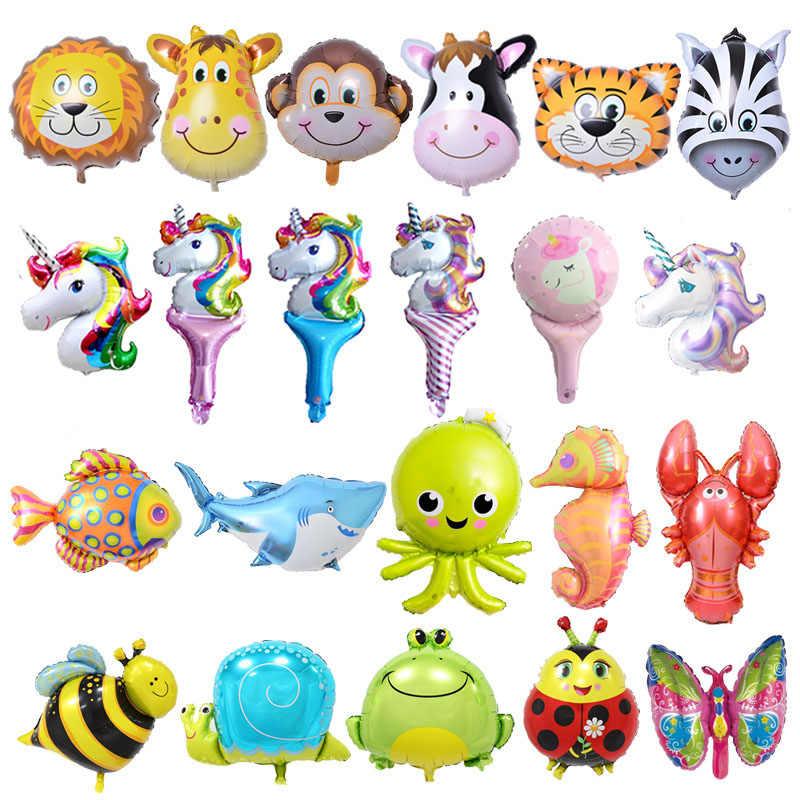 6 pçs mini balões de folha animal decorações da festa de aniversário crianças oceano bolas de peixe inflável brinquedos do chuveiro do bebê