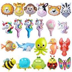 6 piezas Mini globos de papel de animales decoraciones de fiesta de cumpleaños niños bolas de pez océano juguetes inflables Baby Shower animales fiesta bolas